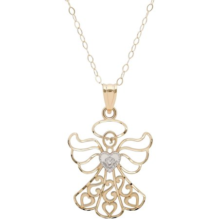10kt Yellow Gold with Rhodium Filigree Angel with Heart Pendant, 18