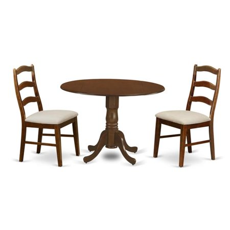 Kenley Dining Table with Two Drop - Leaf & 2 Upholstered Seat Chairs, Espresso - 9 in. - 3 Piece 2 Piece Upholstered Seat