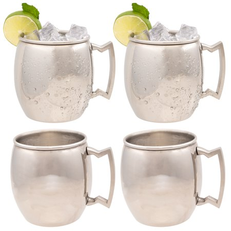 Old Dutch Stainless Steel Moscow Mule Mugs Set Of 4 with Handles, 16 Ounces, Barware Set Of Moscow Mule Cups with Moscow Mule Cocktail Recipe ()