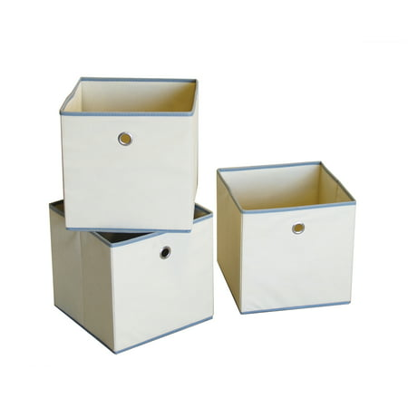 ST16721 Colonial fabric bin, color: beige with light grey trim.