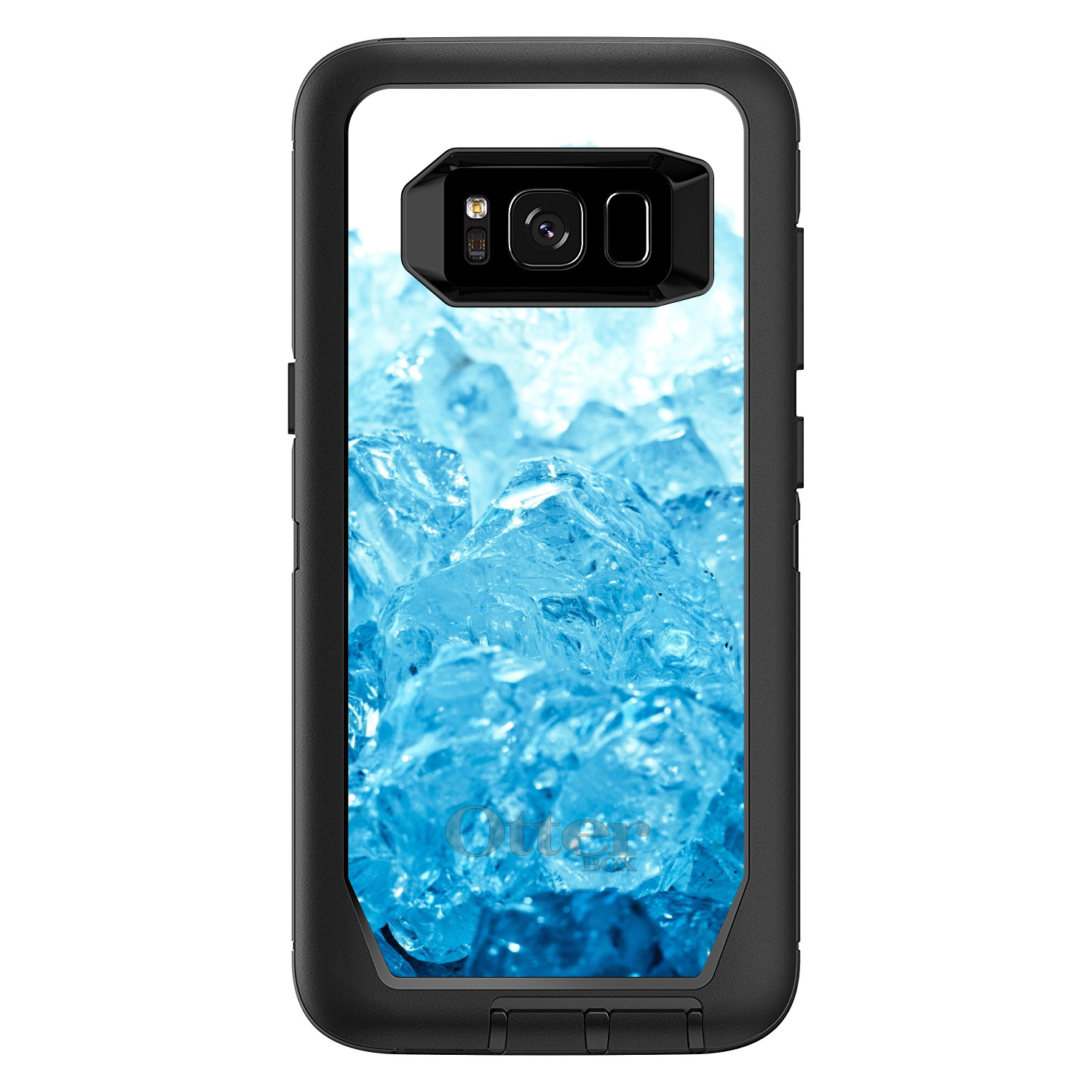 "DistinctInk™ Custom Black OtterBox Defender Series Case for Samsung Galaxy S8 (5.8"" Screen) - Clear Blue Ice"