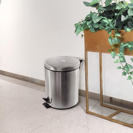 Moustache Wastebasket Stainless Steel Step Trash Can, 5L ,20 x 27 cm - image 3 of 7