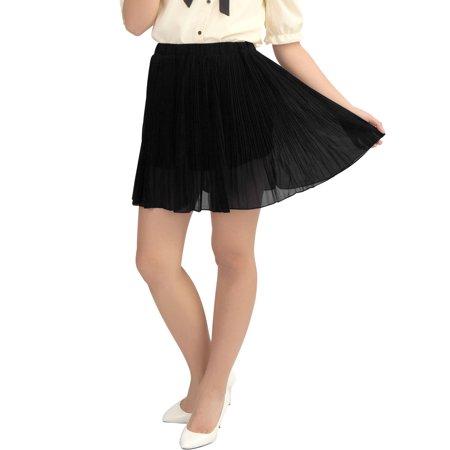 Allegra K Women's Cinched Waist Chiffon Pleated Skirt Black (Size M / 8)
