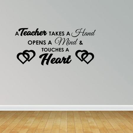 Teacher Touches Heart Quote Vinyl Wall Decals Teacher Appreciation Gift For Teacher JP181 - Halloween Teacher Appreciation Quotes