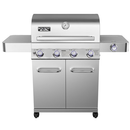 - Monument Grills 17842 Stainless Steel 4 Burner Propane Gas Grill with Rotisserie