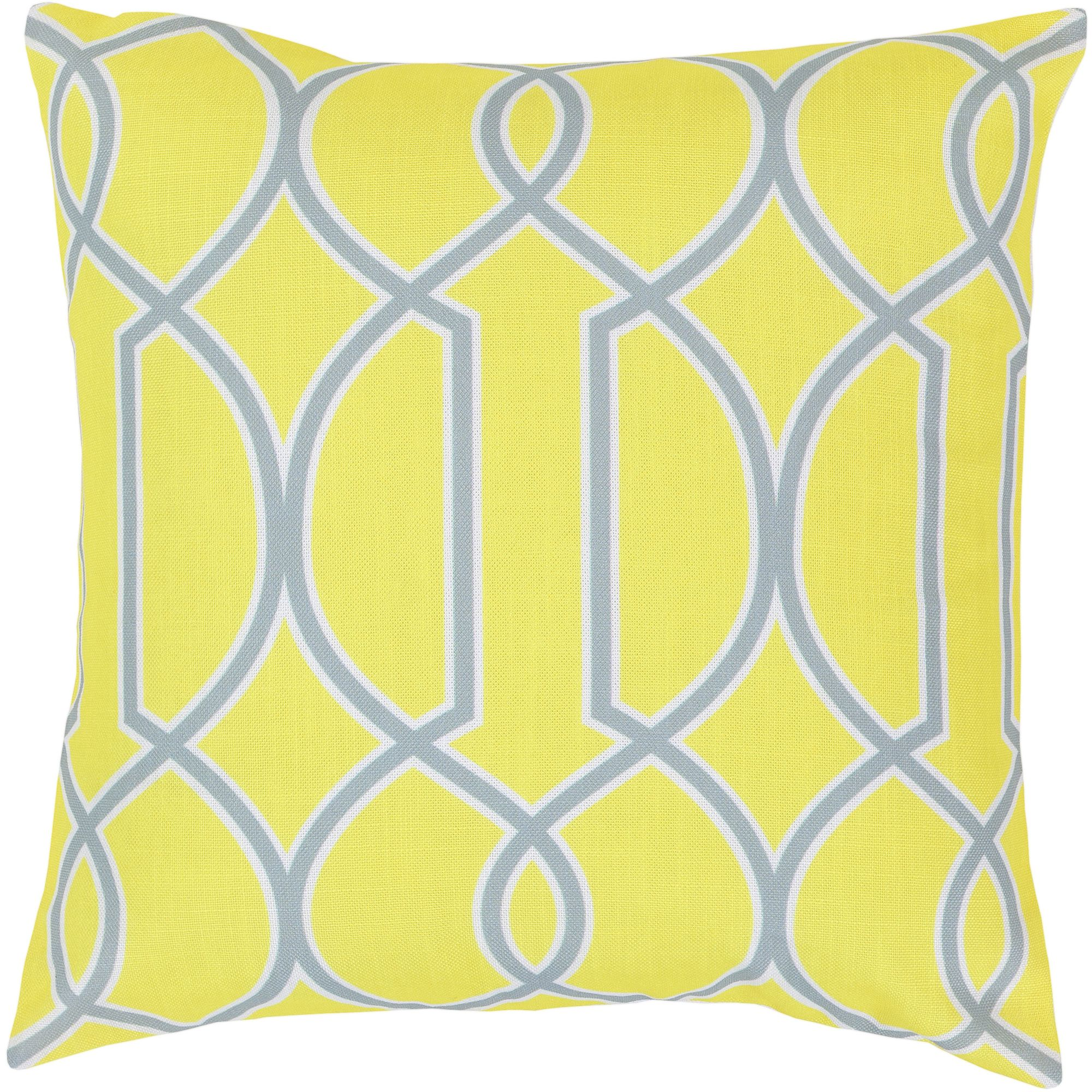 Art of Knot Bentley Hand Crafted Geometric Trellis Decorative Pillow with Poly Filler, Lemon