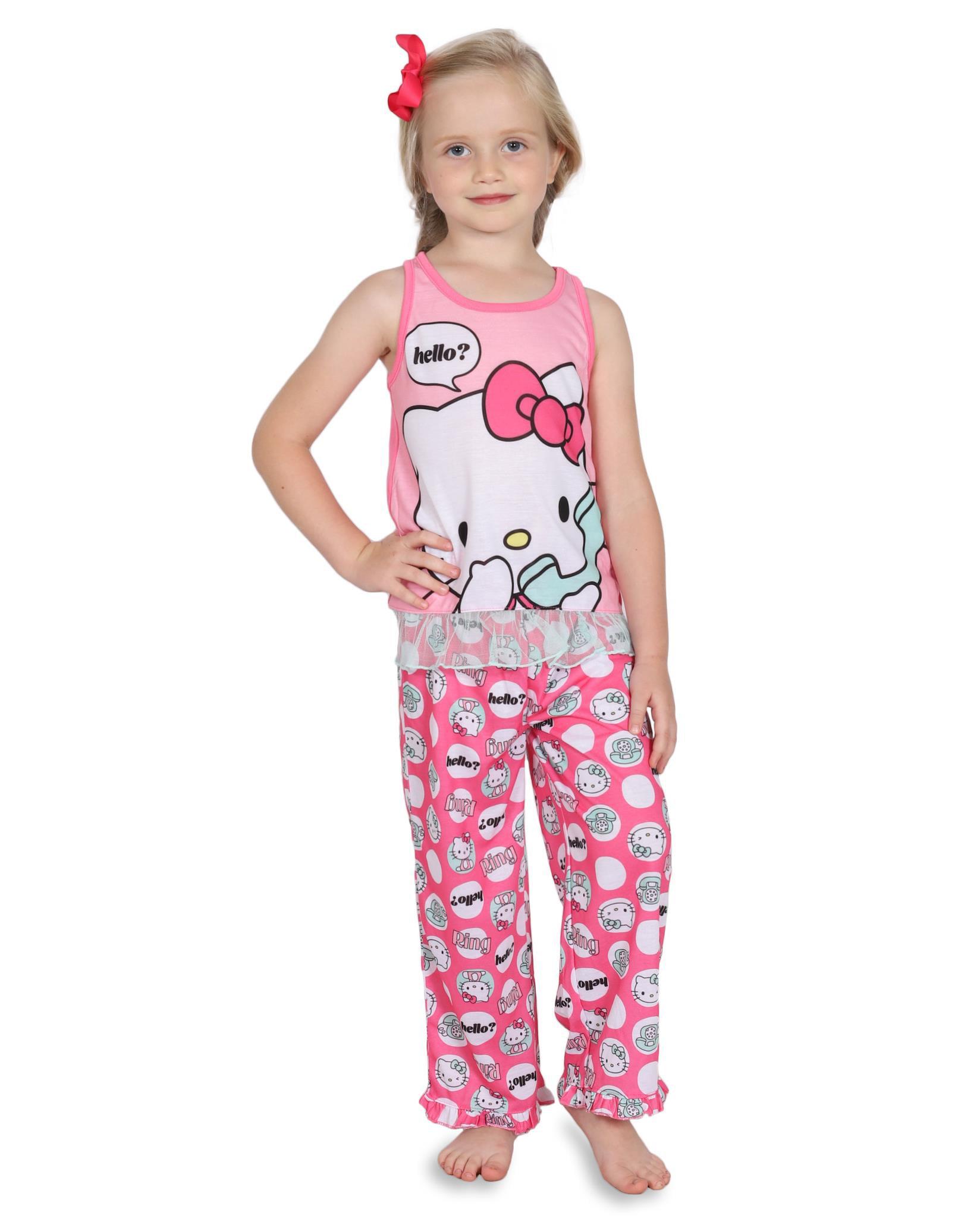 Sizes 4-10 Hello Kitty Girls Fuchsia Kitty Folk Motif 2 Pc Pajama Set