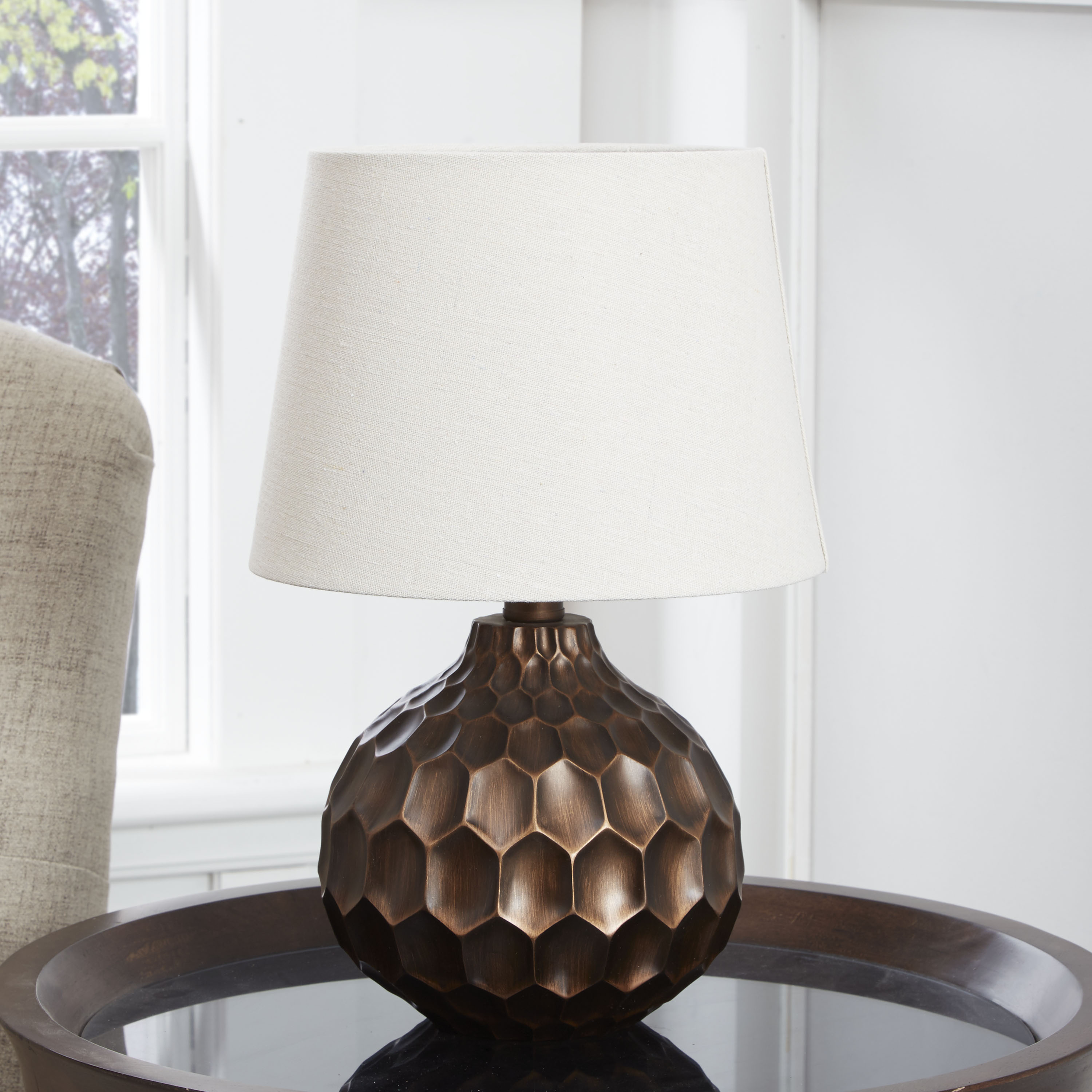 Decor Therapy Faceted Table Lamp with Linen Shade