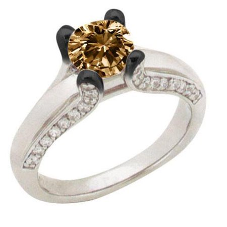 Harry Chad Enterprises HC12322 2 CT Champagne Diamond Antique Look Ring - 14K White Gold - Size 6.5 - image 1 of 1