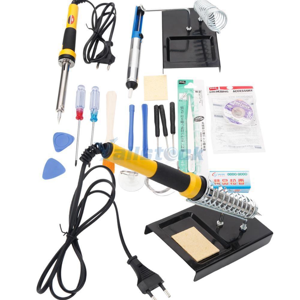 Ktaxon Electric Soldering Iron Tool Kit, EU Stand Plug, 230V 60W, w/ Desoldering Pump, Iron Stand,18 in 1
