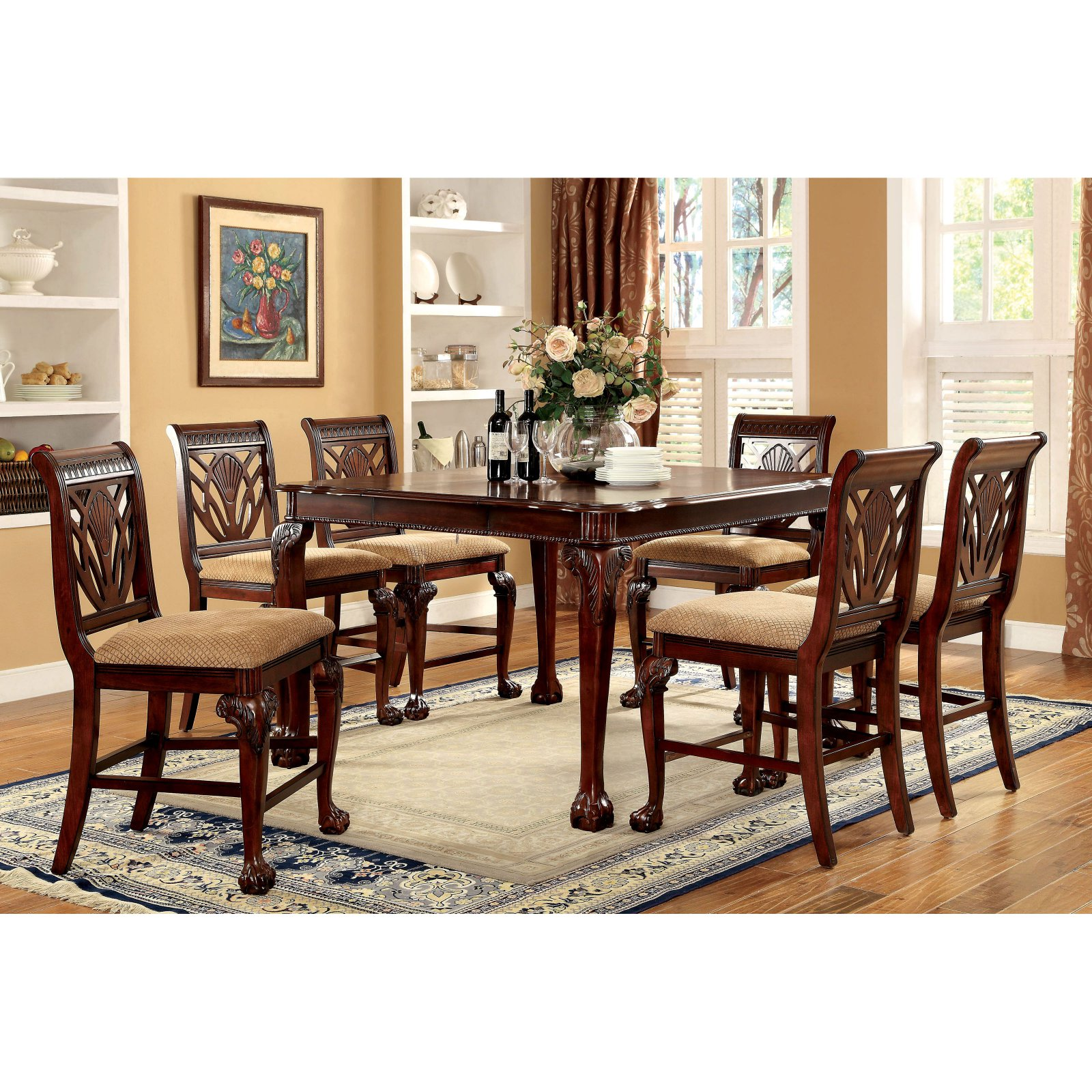 furniture of america harsburough classic counter height 7 piece dining table set