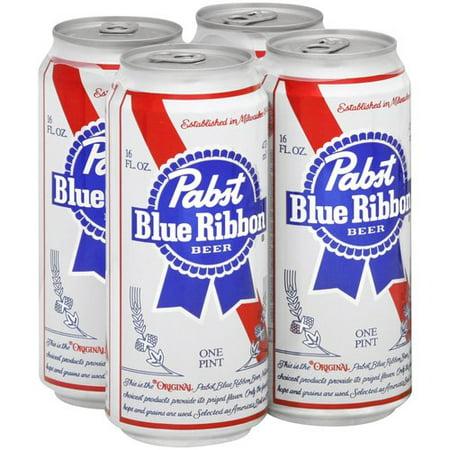 Pabst Blue Ribbon Lager Beer, 4 pack, 16 fl oz