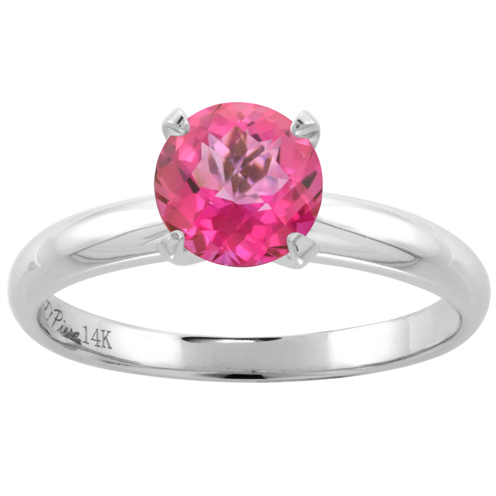 14K White Gold Natural Pink Topaz Solitaire Engagement Ring Round 7 ...