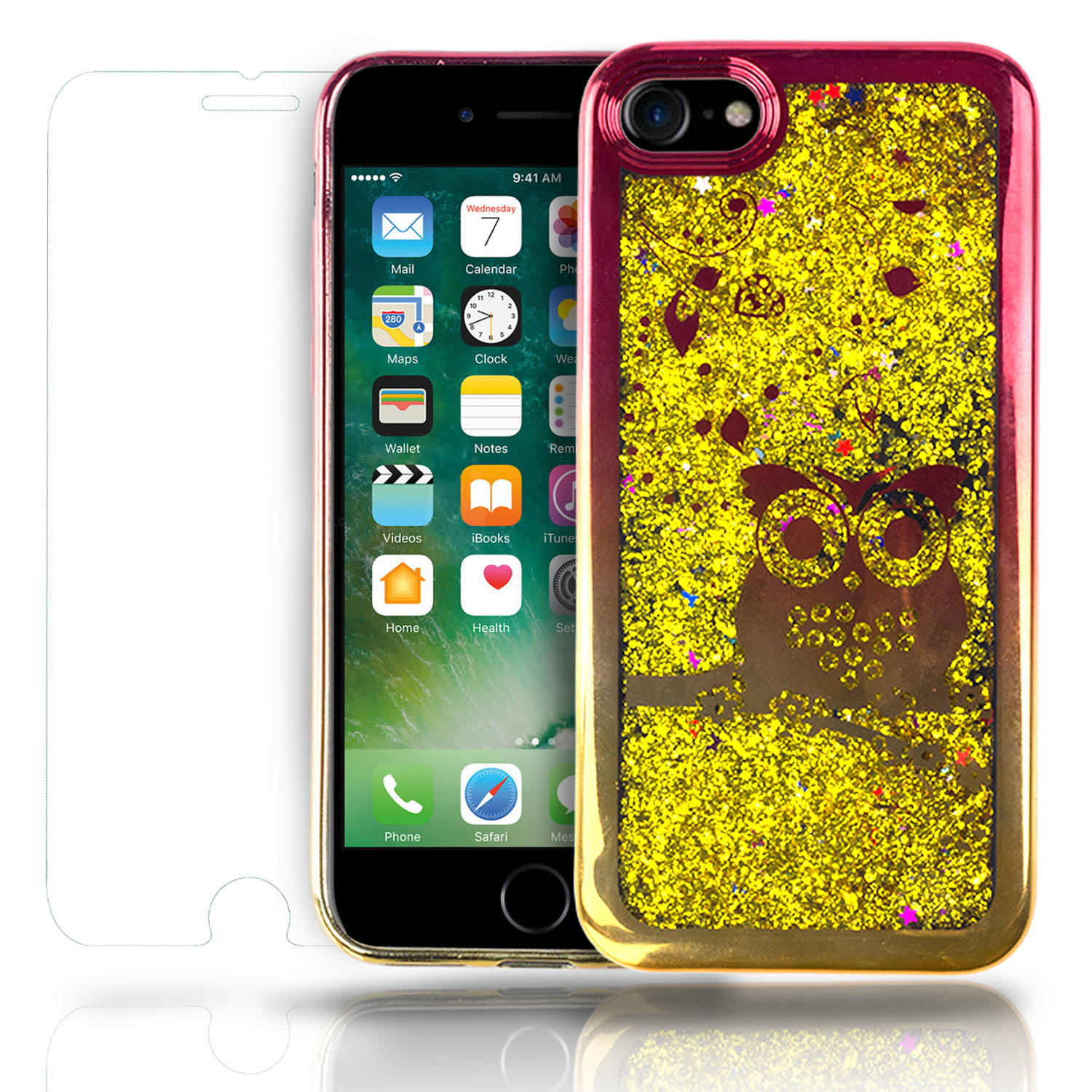 SOJITEK Apple iPhone 7 iPhone 8 Flowing Gold Stars Glitter Red / Gold Bumper Bezel Owl / Hearts Design Color Change Soft TPU Shock Proof Protective Liquid Case