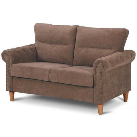 Costway Modern Linen Fabric Sofa Love Seat Couch Upholstered 2-Seater  Nailhead Brown