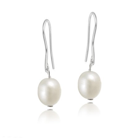 Stainless Steel Baroque Freshwater Cultured White Pearl Dangle Earrings Freshwater Stainless Steel Earrings