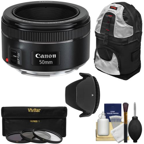 Canon EF 50mm f/1.8 STM Lens with 3 Filters + Hood + Backpack Kit for EOS 6D, 70D, 7D, 5DS, 5D Mark III, Rebel T3, T3i, T5, T5i, T6i, T6s, SL1 Camera