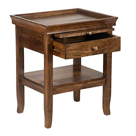 A&B Home Acacia Wood Bedside Table w/Tray 20x16x23.5