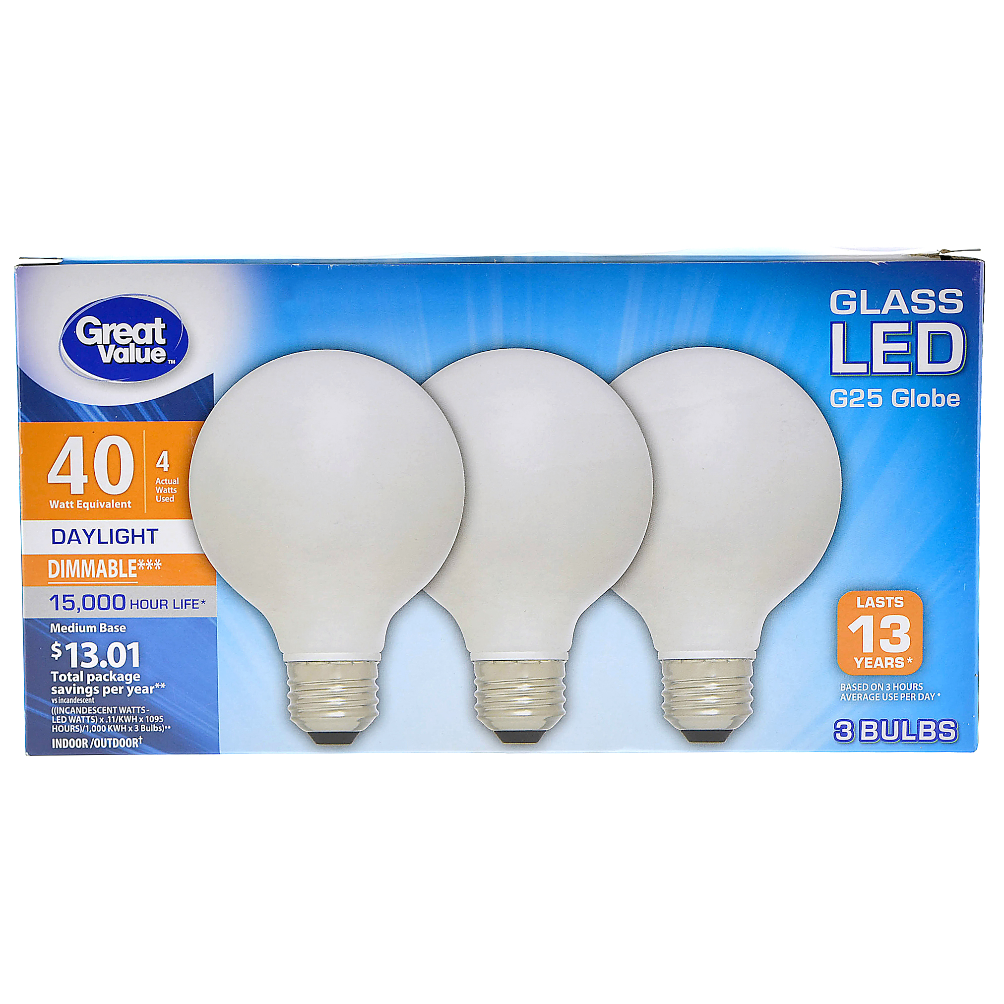 Great Value Glass LED G25 Globe Light 40W Equivalent, 4W Actual, 3 ct