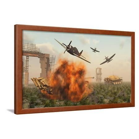 P-47 Thunderbolts Attacking German Jagdpanther Tanks During World War Ii Framed Print Wall Art