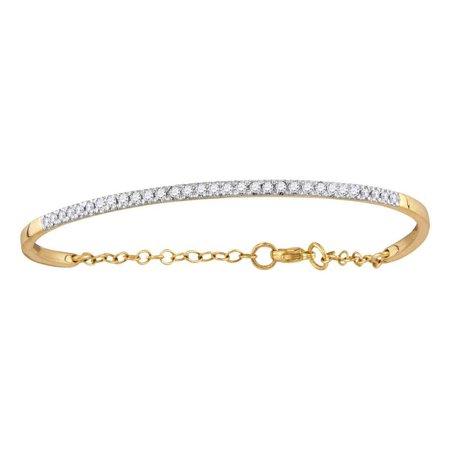 White Gold Round Diamond Bangle (10kt Yellow Gold Womens Round Diamond Promise Bangle Bracelet 1/2 Cttw)