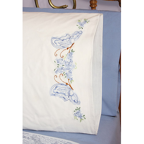 "Fairway Needlecraft Twin Butterflies Stamped Perle Edge Pillowcase Pair, 30"" x 20"""
