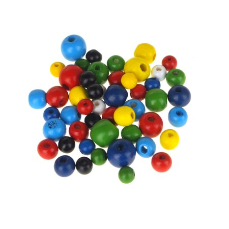 Wooden Scoring Beads - Wooden Round Beads, Assorted Color, 50-Count