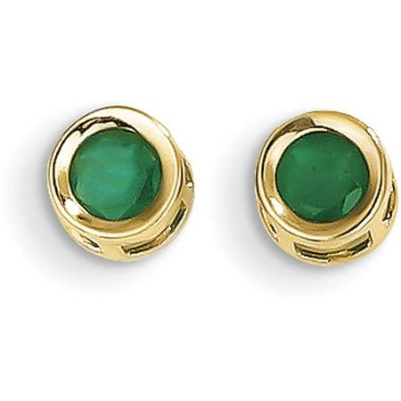 Gold 14x10mm Emerald (Emerald 14kt Yellow Gold 4mm Bezel May Post Earrings)