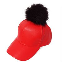 c6ca3db4a5a Product Image Fur Pom Pom Adjustable Snapback Faux Leather Precurved  Baseball Cap - Black on Red