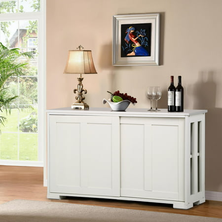 Topeakmart Antique White Buffet Cabinet Kitchen Table Sliding Door Stackable Sideboard Storage Cabinet