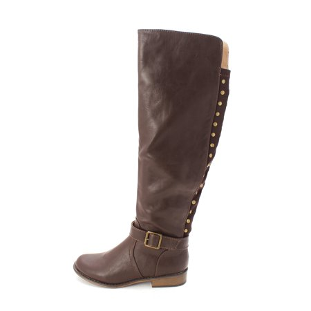 Just Fab Womens Eliza Closed Toe Mid Calf Riding Boots
