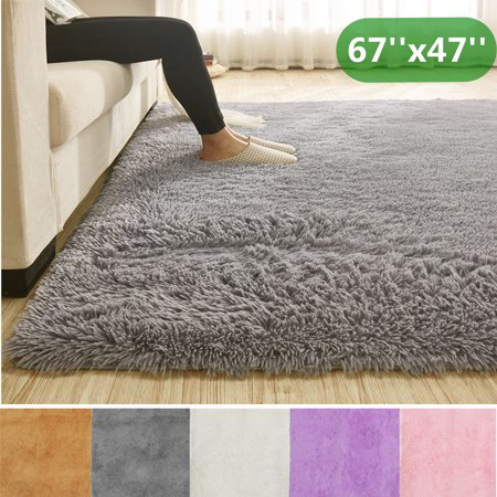67''x47'' Super Soft Great for Kids Play Fluffy Floor Rug Anti-skid Plush Shag Shaggy Area Rug Bedroom Dining Room Carpet Yoga Mat