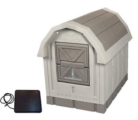 Dog Palace Insulated Dog House With Heating Pad Grey