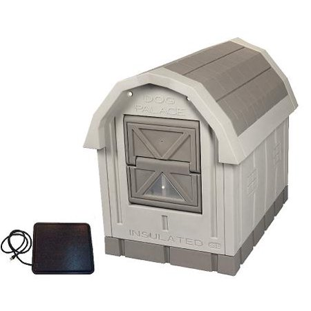 Dog House Blind - Dog Palace Insulated Dog House with Heating Pad - Grey