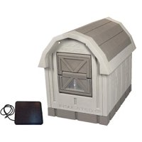 """Dog Palace Insulated Dog House with Heating Pad, Large, Inside Dimensions 30.5""""H x 24""""W x 35.5"""" L, Grey"""