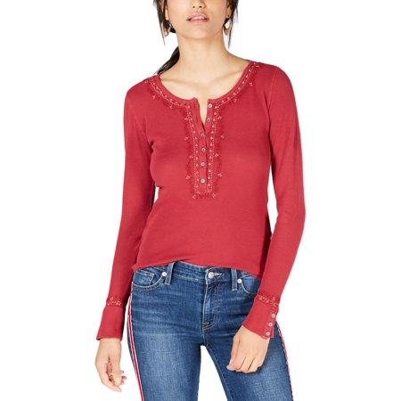 Lucky Brand Womens Thermal Embroidered Henley Top
