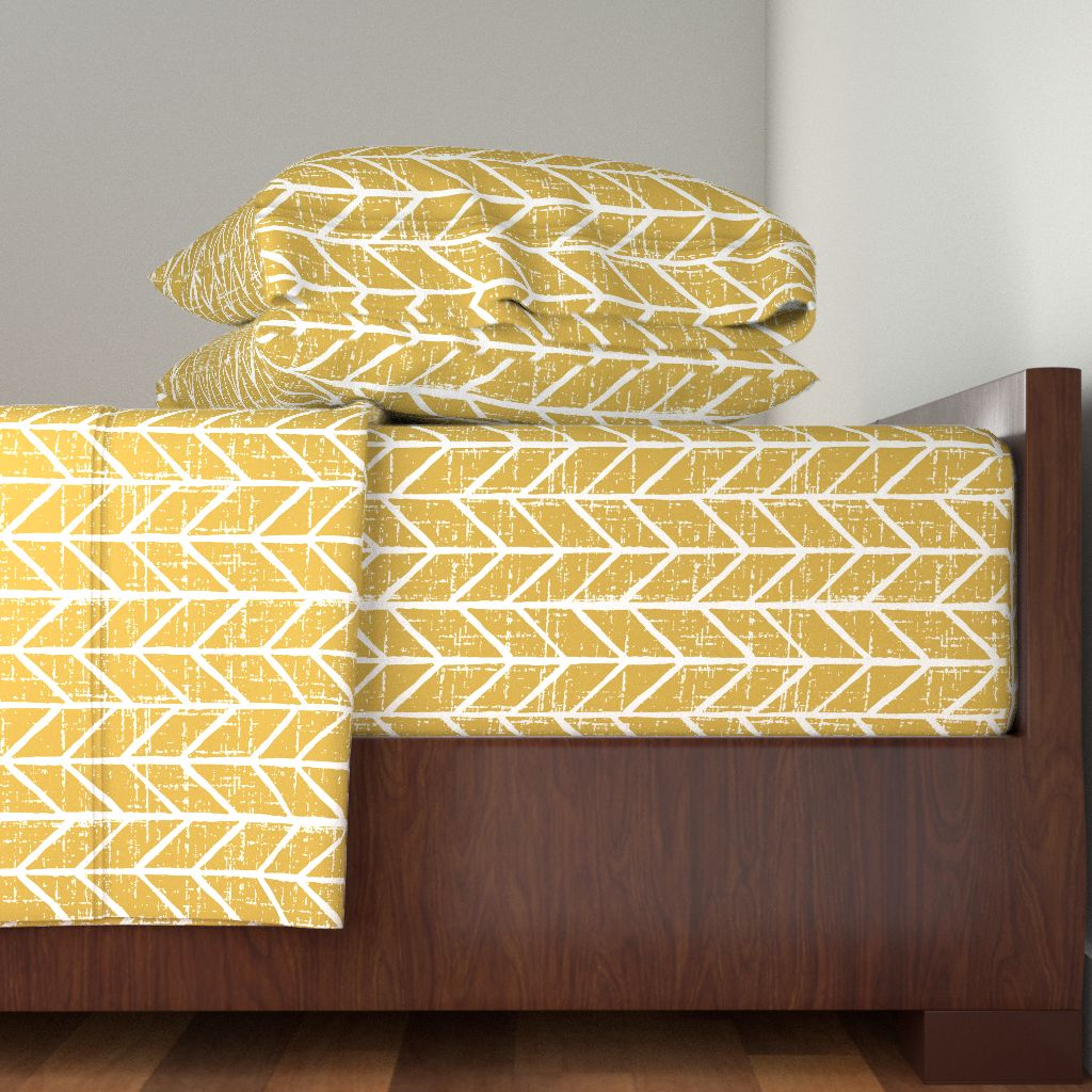 Yellow Chevron Mustard Gold Chevron 100% Cotton Sateen Sheet Set by Roostery