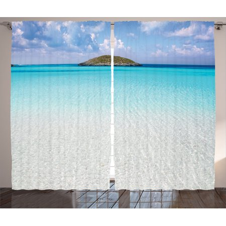 Ocean Decor Curtains 2 Panels Set Paradise Beach In Caribbean Water With A Small Island Landscape Dream Away Art Print Living Room Bedroom