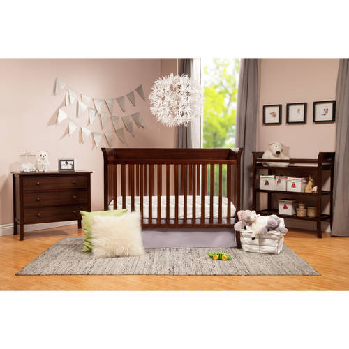 Baby Mod  Ava Crib and 3 Drawer Dresser Set with BONUS Changing Table Espresso