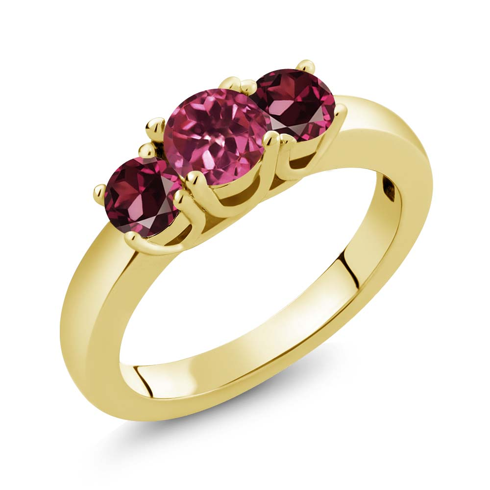 1.24 Ct Round Pink Tourmaline Red Rhodolite Garnet 18K Yellow Gold Ring by