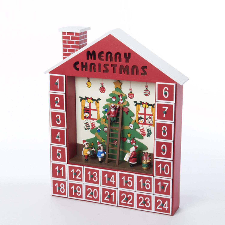 "DAK 15"" Wooden Advent Calendar House Decorative Christmas..."