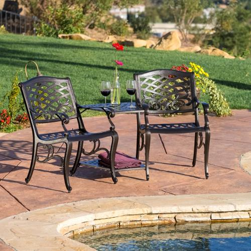 christopher knight home sarasota bronze cast aluminum outdoor adjoining chair by
