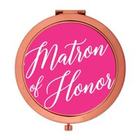 Andaz Press Rose Gold Compact Mirror Matron of Honor Wedding Gift, Fuchsia Hot Pink, 1-Pack
