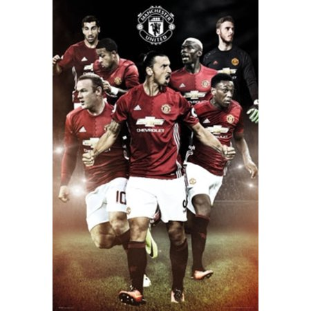 Manchester United Players 16/17 Soccer Football Sports Poster 24x36 inch](Football Player Cutouts)