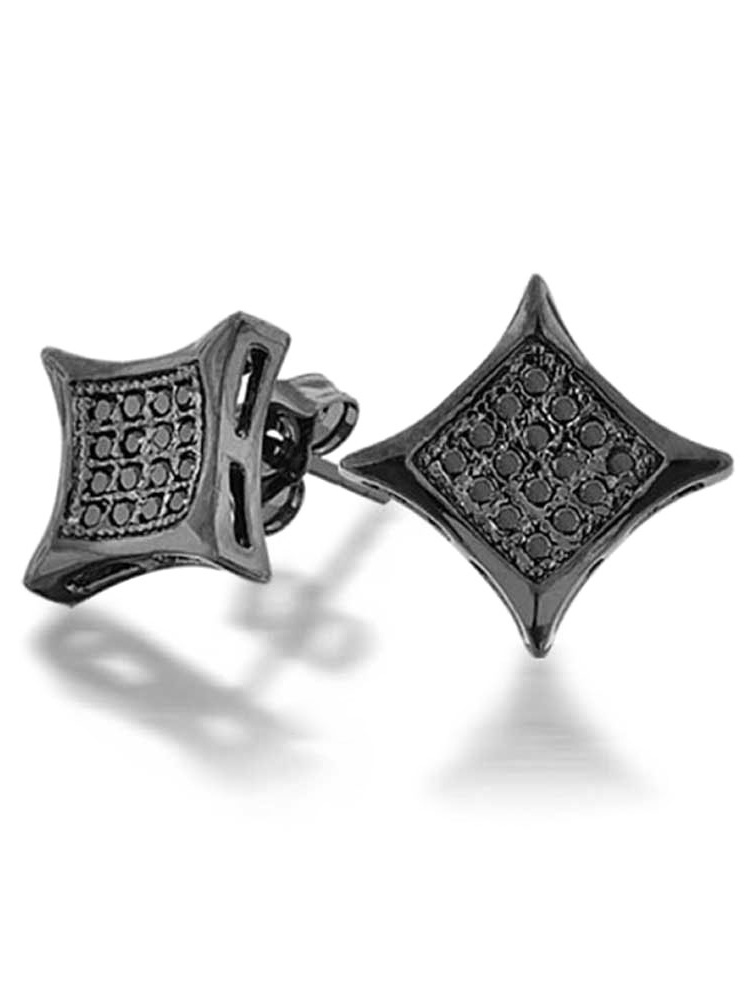 Stud Earrings FB Jewels 925 Sterling Silver Mens Cubic Zirconia CZ Square Kite 5mm