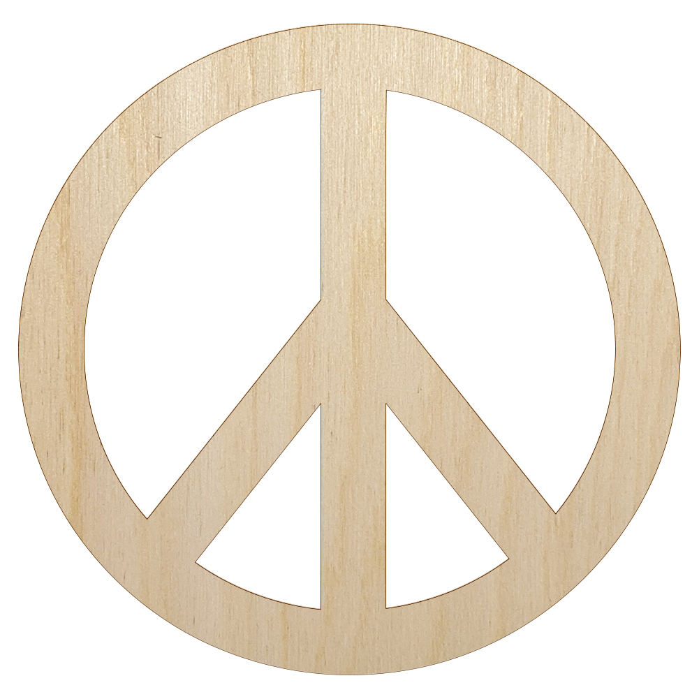 Peace Hand Sign Unfinished Wood Shape Piece Cutout for DIY Craft Projects