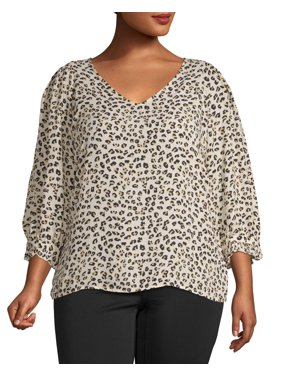 7807490167643a Product Image Women's Plus Size Printed Crepe Top