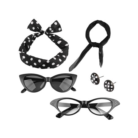 50's Women Costume Earring Glasses Sunglasses Scarf (Sunglasses Costume)