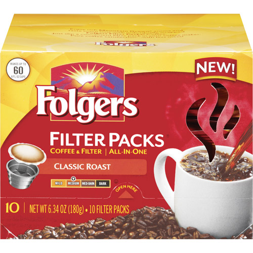 Folgers Classic Roast Medium Coffee Filter Packs, 10ct