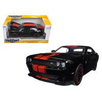 """2015 Dodge Challenger SRT Hellcat Black with Red Stripes """"Big Time Muscle"""" 1/24 Diecast Model Car by Jada"""